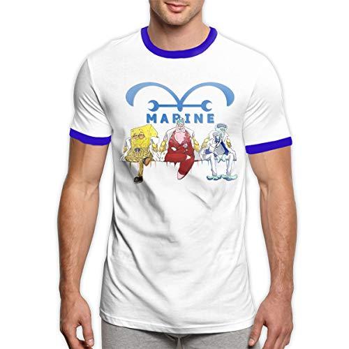 (UESEU Personalized Funny One-Piece Marine-Spongebob Short Sleeve Ringer T Shirts for Adult)