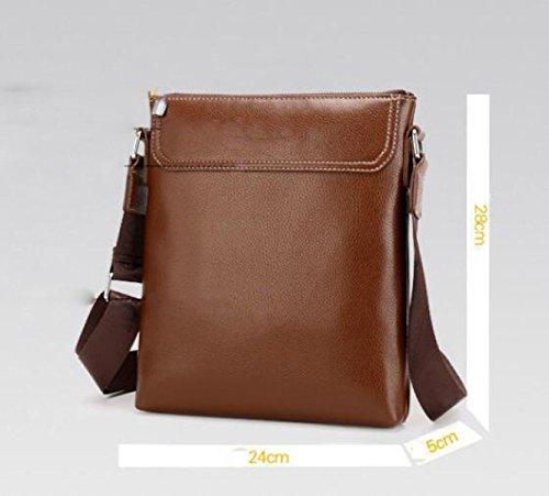 Casual Paquete Cuero Deportes Moda Neutral Archivo Messenger Bag Hombre Hombro Black De De a0w5xFaPq