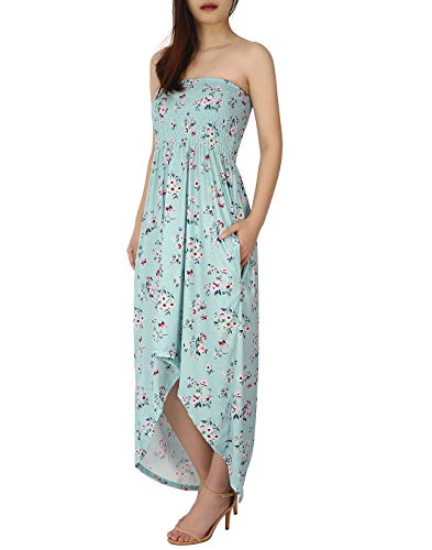HDE Women's High Low Cut Floral Maxi Dress Plus Casual Sundress with Pockets (Print Strapless Low High)
