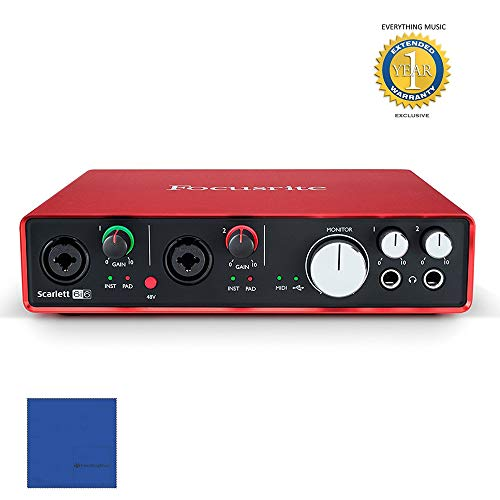 Focusrite Scarlett 6i6 Second Generation (2nd Gen) 6 In/6 Out USB 2.0 Audio Interface with Pro Tools | First and 1 Year Free Extended Warranty - In Eq Vst Plug