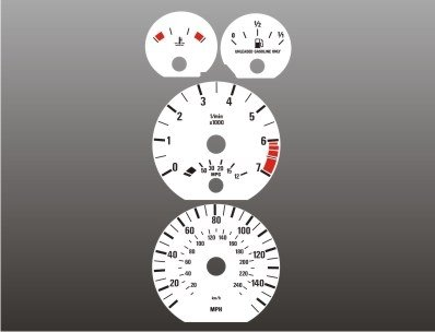 1996-2004 BMW E39 E38 E53 5 series White Face (Large Face Tachometer Gauge)