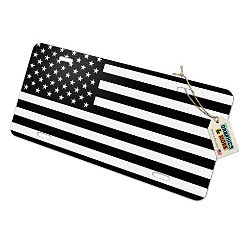 - Graphics and More Subdued American USA Flag Black White Military Tactical Novelty Metal Vanity Tag License Plate