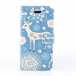 Sika Deer Pattern PU Full Body Case with Stand and Card Slot and Card Slot for iPhone 5C