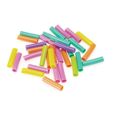 Bulk Buy: Darice Crafts for Kids Plastic Beads Straw / Tube Shaped Assorted Brights 1 inch 75 grams (6-Pack) 1193-96 (Plastic Beads Tube)