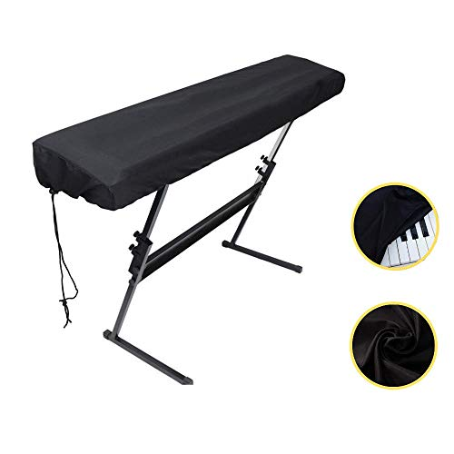 Piano Keyboard Dust Cover For 61/76/88 Keys- Electric/Digital Piano Stretchable Protective Keyboard Cover, Elastic Cord Locking Clasp, Machine Washable (61-76 Keys)