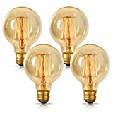 Edison Light Bulbs 60w, Jslinter Globe Dimmable Filament Decorative Bulbs for Home, Vintage Light Bulb G80/G25 Style, E26 Base, Classic Amber (4 Pack)