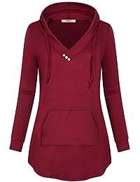 Women's Long Sleeve V Neck Pleated Pullover Sweatshirts...