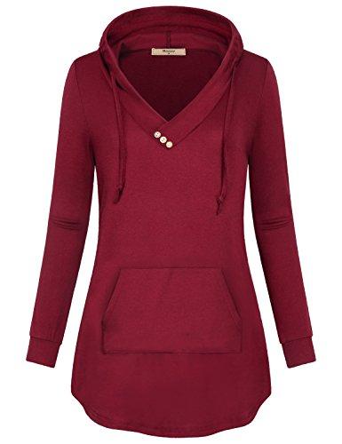 Ladies Garment - Miusey Womens Hoodie, Ladies Garment Long Sleeve Lightweight V-Neck Ruffle Collar Button Sweatshirt for Women Rose Red Medium