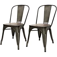 Barton Bistro Side Chair Gun Metal and Wood Seat Finished, Set of 2, Stackable, Antique Brass Frame Finished