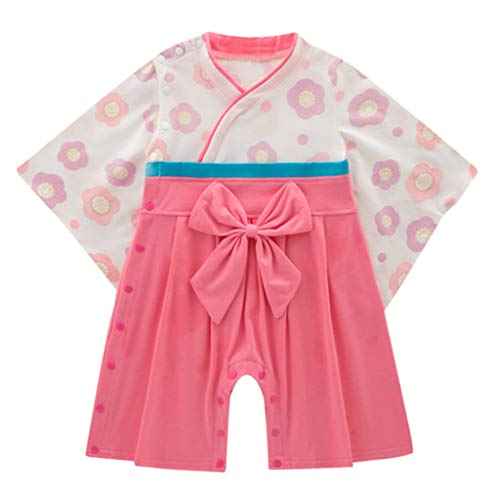 - ❤Ywoow❤ Baby Clothes Set, Infant Baby Girls Flower Kimono Bow Romper Traditional Costumes Japanese Clothes