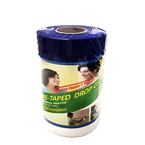(C&S Pretaped Drop Cloth 24 in x 75 ft with 18mm Blue Masking Tape)