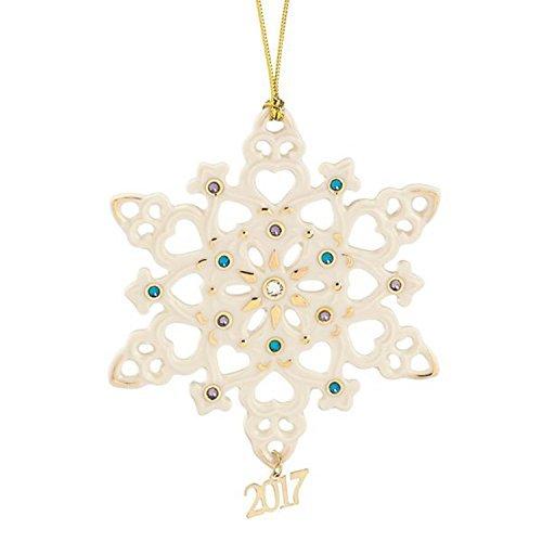 Lenox 2017 Gemmed Snowflake Ornament Annual Blue Clear Crystals (Lenox Annual Ornaments)