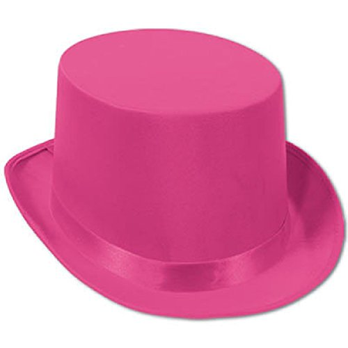 [20'S Deluxe Hot Pink Satin Sleek Silk Magic Tuxedo Top Hat Costume Accessory] (Military Style Dance Costumes)