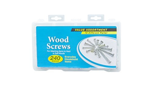 Brass and Stainless Steel Wood Screw Kit, Assorted with 18 Different Sizes 240 Pieces from Elba Product