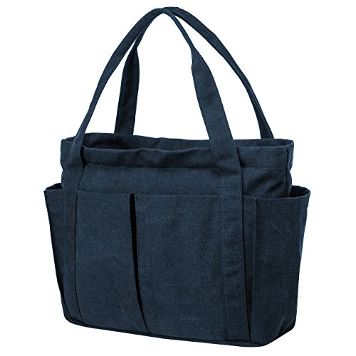 Riavika Canvas Weekend Tote Bag Shoulder Bag for Women (Blue) by Riavika