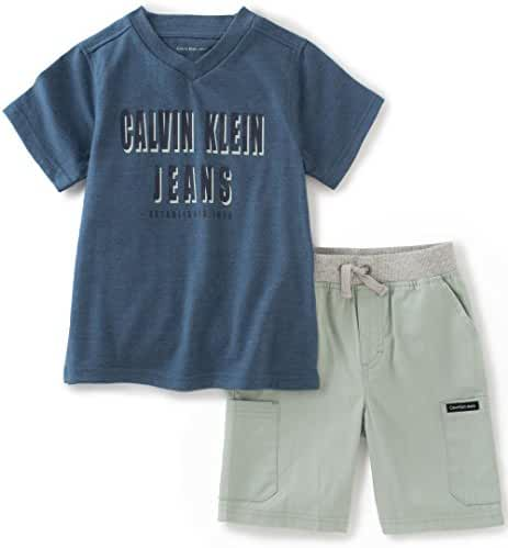 Calvin Klein Baby Boys' 2 Pieces Tee Short Set, Blue
