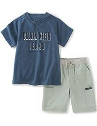 Calvin Klein Baby Boys' 2 Pieces Tee Short Set, Blue, 12M