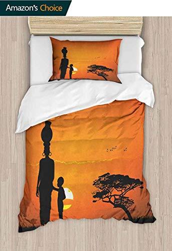 "PRUNUS-Home Print Comforter Quilt Set,Child and Mother at Sunset Walking in Savannah Desert Dawn Kenya Nature Image with 1 Pillowcase for Kids Bedding 59"" W x 78"" L Orange Black"