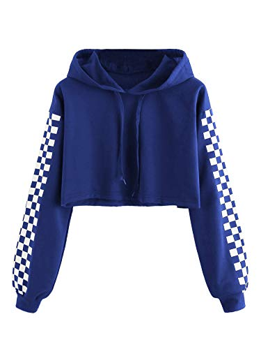 ea32f0aa4d453 MAKEMECHIC Women s Pineapple Embroidered Hoodie Plaid Crop Top Sweatshirt  Royal Blue L