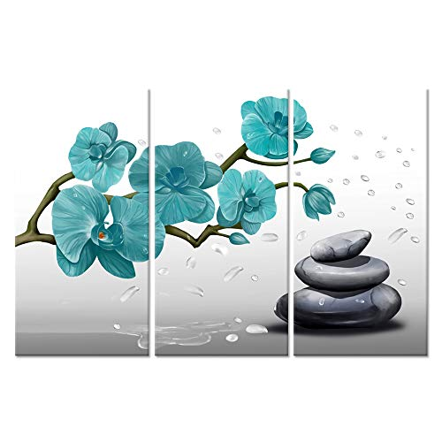 (ZingArts 3 Pieces Teal Flower Canvas Wall Art Butterfly Orchid Zen Stone Still Life Spa Artwork Picture Giclee Painting Print for Bathroom Living Room Decoration Ready to Hang 16