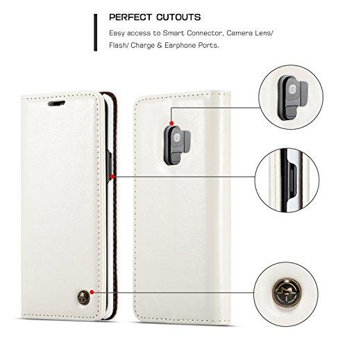 GR Para Samsung Galaxy S9 Wallet Case, Crazy Horse Protective Flip PU Funda de cuero para teléfono [Ranura para tarjetas] [Magnet Clutch plegable] ( Color : White ) White