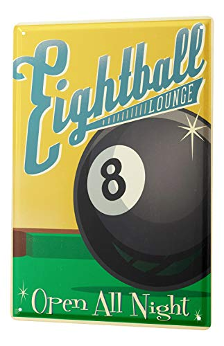 Nostalgic Tin Sign Eight Ball Billiard Eight 8X12
