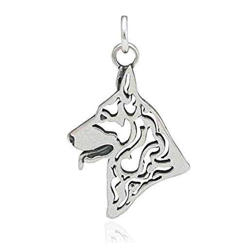 Sweet Emily's Collection Sterling Silver German Shepherd Pendant, -