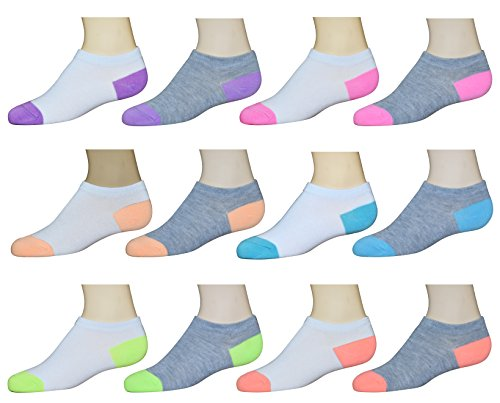 Collettie Betty Girls No-Show Low Cut Athletic Ankle Socks – 12 pack – DiZiSports Store
