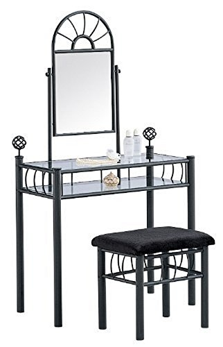 Home Source Industries 200-6032 Vanity with Upholstered Bench, Black (Black And Mirrored Bedroom Furniture)