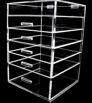 Amazon.com: Acrylic Makeup Organizer - 6 Drawer Clear Cube with ...