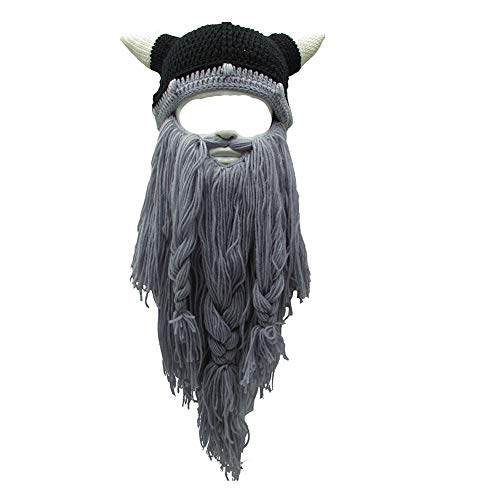 b30f4174755 Flyou Adult Viking Beard Beanie Horn Hat Winter Warm Mask Hat Knitted Wool  Funny Skull Cap