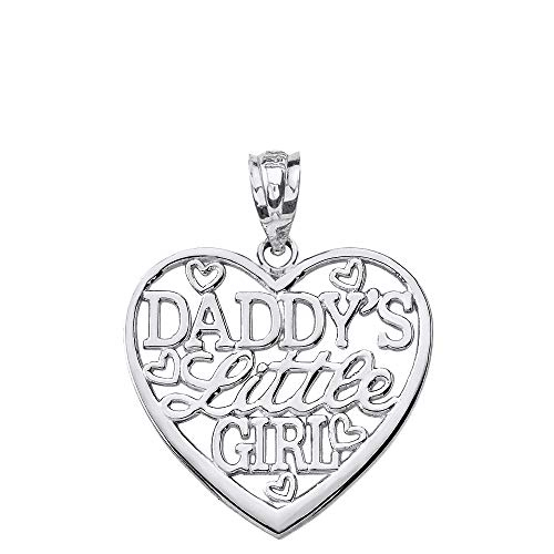 Solid 925 Sterling Silver Heart Charm 'Daddy's Little Girl' Pendant