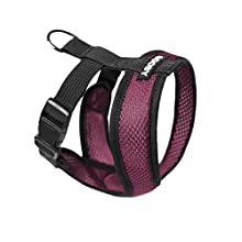 Gooby - Comfort X Head-in Harness, Choke Free Small Dog Harness with Micro Suede Trimming and Patented X Frame, Purple, Medium