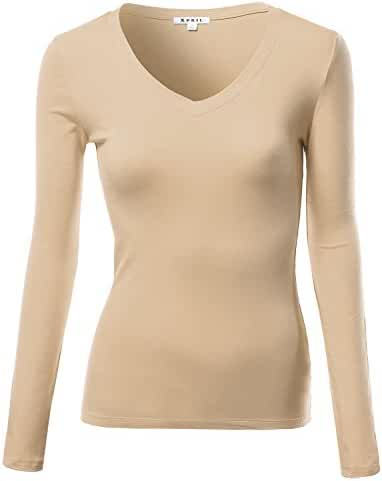 Awesome21 Women's Basic V-neck Long Sleeves Thermal Tops