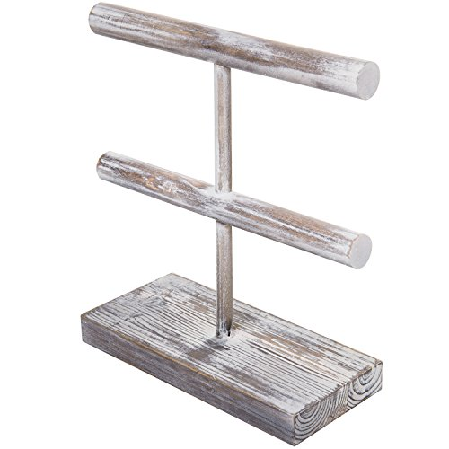 MyGift Rustic 2-Tier Torched Wood T-Bar Jewelry Display Rack, Bracelet & Watch Organizer by MyGift (Image #3)