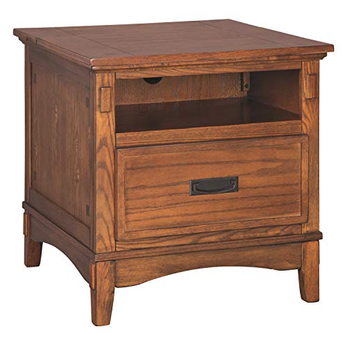 Ashley Furniture Signature Design - Cross Island End Table - 1 Drawer - Rectangular - Medium Brown