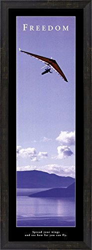 Freedom - Hang Glider Framed Art Print Wall Picture, Espresso Brown Frame, 14 x 38 inches