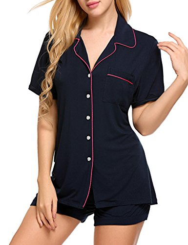 Ekouaer Ladies Short Summer Pajamas Plus Size Sleeping Wear(Dark Blue, XX-Large)