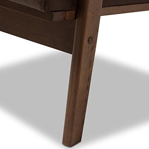 Baxton Studio Lounge Chair with Ottoman in Walnut and Dark Brown