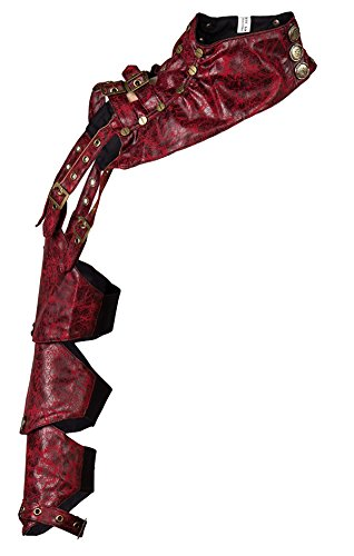 Alivila.Y Fashion Womens Mens Steampunk Leather Shoulder Armor Corset Jacket A220-Red-XXL