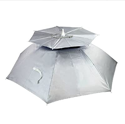 Creative SILVER Ventilate Hands Free Umbrella Hat For Fishing/ Golf/ Beach