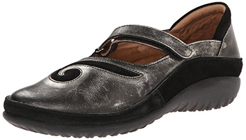 Naot Women's Matai Mary Jane Flat,Metal Leather/Black Suede,38 M EU / 7 B(M) US