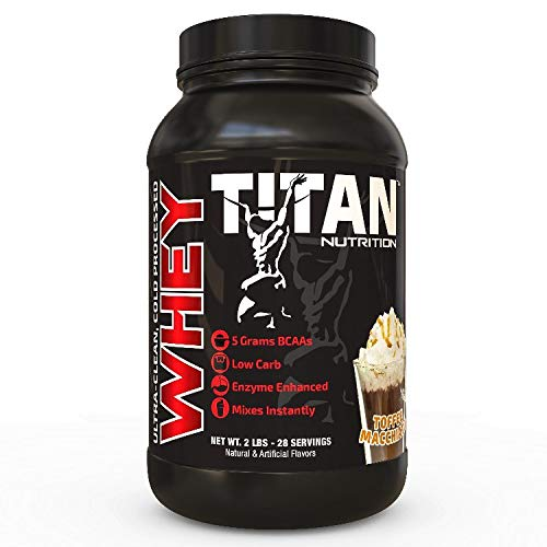 Titan WHEY Premium Whey Protein Powder for Improved Muscle Recovery with 23 Grams of Clean Whey Protein BCAA and Digestive Enzymes Toffee Machiato, 2 lb