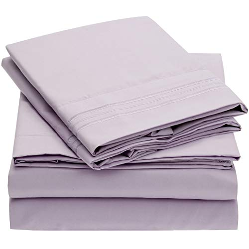 Mellanni Bed Sheet Set Brushed Microfiber 1800 Bedding Wrinkle Fade Stain Resistant 5 Piece Split King Lavender