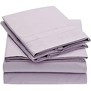 Mellanni Bed Sheet Set - Brushed Microfiber 1800 Bedding - Wrinkle, Fade, Stain Resistant - Hypoallergenic - 4 Piece (King, Lavender) (B00WAIH5ZI) | Amazon price tracker / tracking, Amazon price history charts, Amazon price watches, Amazon price drop alerts