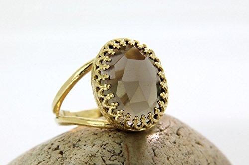 Smoky quartz ring,smokey ring,gold ring,oval ring,bridal ring,bridesmaid gifts,love gift,i love you ring (Oval Ring Smokey Quartz)