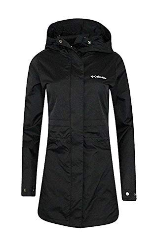 Columbia Womens Shine Struck II Waterproof Rain Mid Hooded Jacket Trench Coat (1X, Black) ()