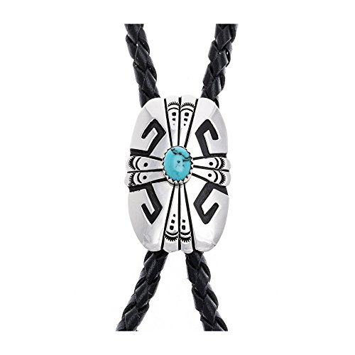 Feather Sun .923 Sterling Silver Certified Authentic Handmade Navajo Native American Natural Turquoise Bolo Tie