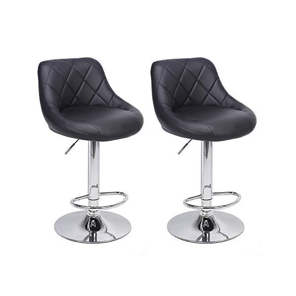 Tabouret de Bar Lot de 2, Chaise de Bar Moderne avec Dossier et Repose-Pieds, Hauteur Réglable Rotation à 360…