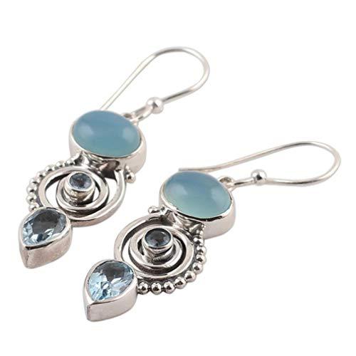 (SOURBAN Pear Shape Dangle Earrings Artificial Gemstone Drop Hooks Earrings Spiral Pendant Crystal)